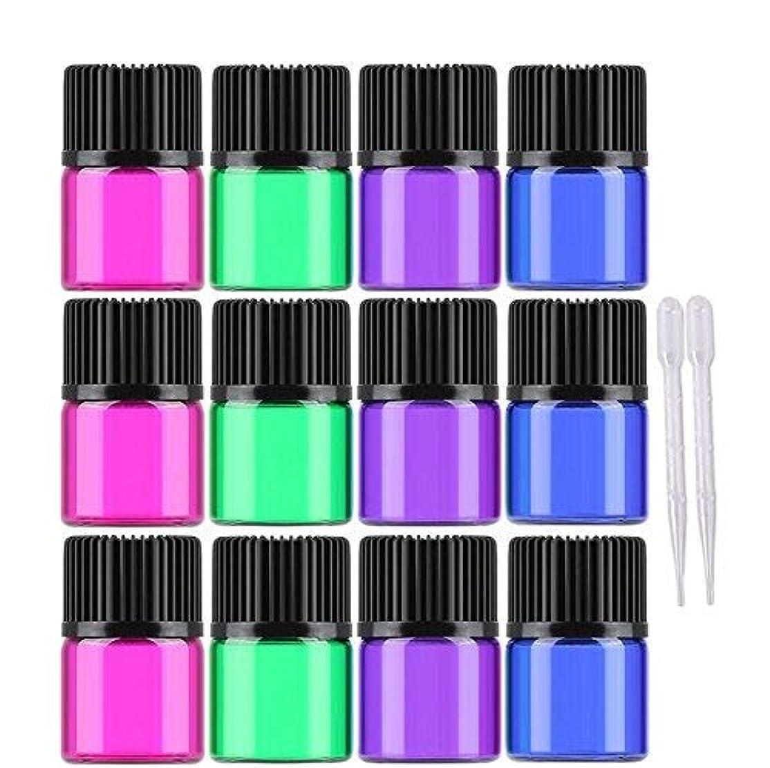 従事するメンダシティ思慮のない30 Pcs Essential oil Glass Bottles 1ml/2ml/3ml Mini Multicolor(blue,green,pink,purple) Empty Liquid Sample Vials...