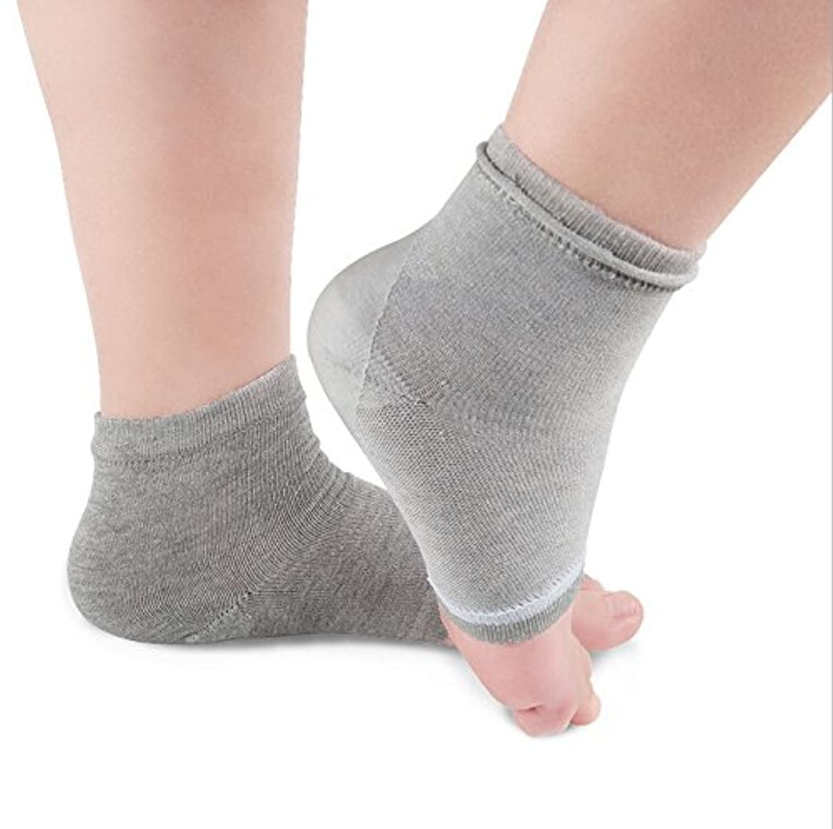 ジュラシックパークランタン柔らかいQIAONAI レディース用 メンズ用 踵用カバー かかと 靴下 かかと ケア つるつる すべすべ 靴下 ソックス 角質ケア 保湿 角質除去 足ケア かかと 靴下 足首用サポーター  フリーサイズ (グレー)