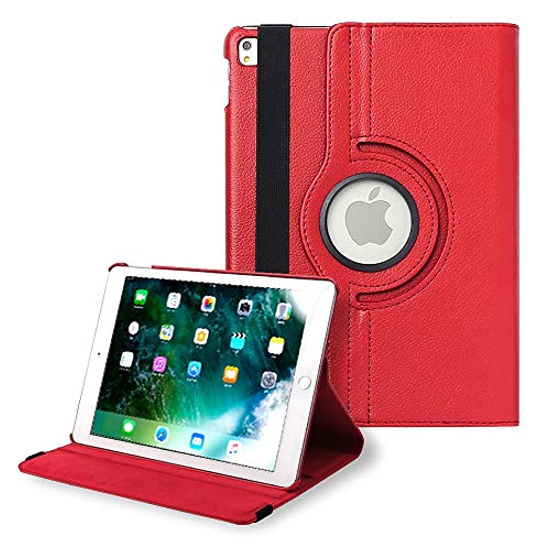 異形出来事大腿iPad Pro 9.7 ケース アイパッドケース 保護カバー 360度回転 シンプル レザー 薄型 iPadケース (色 レッド) apple A1673 A1674 A1675