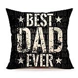 "Best Dad Everクッションカバー18"" x 18""インチコットンリネン(父の日ギフト)"