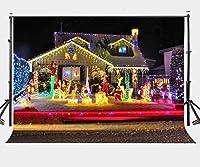 lylycty 7x 5ftクリスマスEveシーンバックドロップカラフルライト屋外キャビン写真背景ファミリクリスマスパーティーアウトドアの撮影小道具lyge534