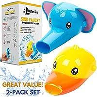 子供用蛇口エクステンダー: アニマル噴出口の蛇口エクステンダー2セット ー 赤ちゃんや幼児、子供達の手洗いに最適 (ゾウと アヒル)