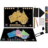 Scratch Off Australia Map Poster (FREE Australia Post SHIPPING) Glossy Finish Detailed NEWLY IMPROVE MAP by Kaleidoscope World Thicker Paper Scratch tool and Gold Marker Pen Gift for Traveler Poster Map for kids