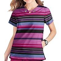 Butter-Soft Stretch Women's Cheerful Stripes Print Scrub Top by Uniform Advantage (XS-3X)
