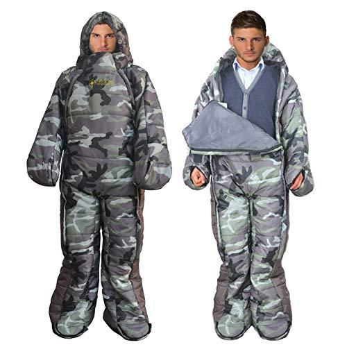 MAXSOINS公式ショップ 着る寝袋 人型 動ける寝袋 シュラフ 冬用 水洗い可 [適応身長160...