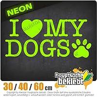 I love my dogs - 3つのサイズで利用できます 15色 - ネオン+クロム! ステッカービニールオートバイ