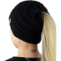 MIEDEON Womens's Ponytail Messy Bun Beanie Solid Ribbed Hat Cap