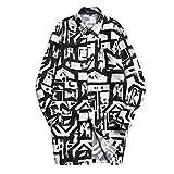 (リスキス) riskiss メンズ 総柄 カジュアル コート チェスター トレンチ コート ジャケット 上着 アウター M L XL ブラック 黒 (M, ブラック&ホワイト)