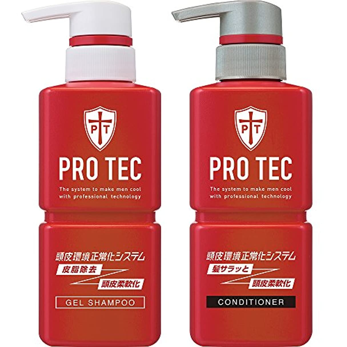ガラガラ水観客PRO TEC(プロテク) 頭皮ストレッチ シャンプー ポンプ 300g(医薬部外品)+ コンディショナー ポンプ 300g