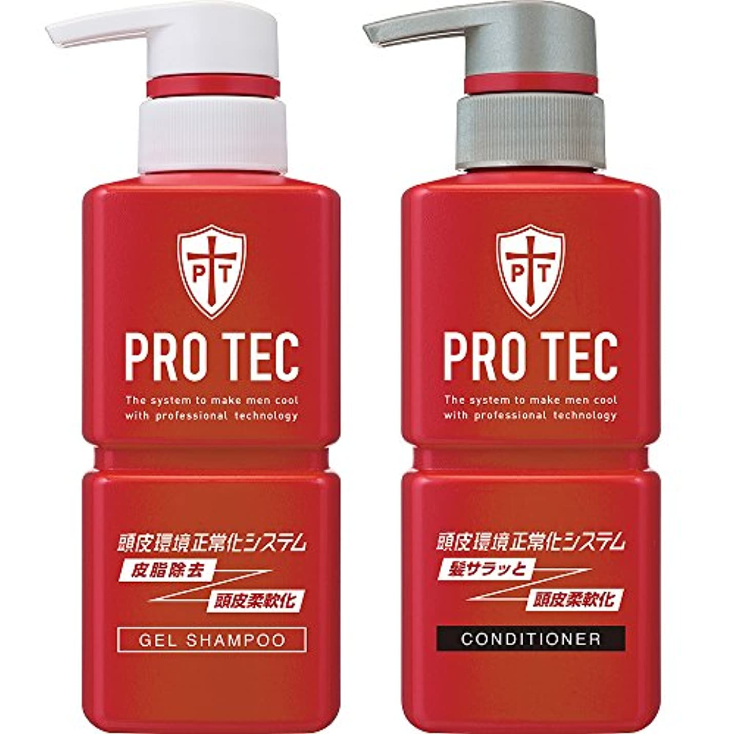 薄いです原油スピーカーPRO TEC(プロテク) 頭皮ストレッチ シャンプー ポンプ 300g(医薬部外品)+ コンディショナー ポンプ 300g