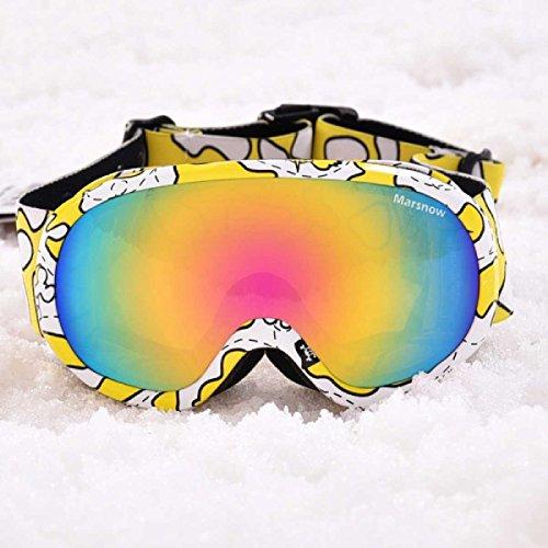 Triwonder 子供用 スキーゴーグル スノーボードゴーグル ダブルレンズ 100%UVカット 耐衝撃 防風防曇 男女兼用 メガネケースと眼鏡拭きと収納バッグ付き スノボ バイク スノー ゴーグル 多種設計 (イェロー, 3-7 歳)