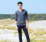 Tシャツ メンズ 無地 七分袖 カットソー Vネックランダムテレコ プレーン スペード画像⑨