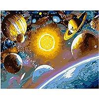 番号ペイント絵によるzddyxペイントデジタル絵画DIY 40x50探査スペースミステリー風景キャンバスウェディングアールデコ絵ギフトウォールアート40x50cm(16x20in)フレーム付き