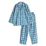 【ノーブランド品】 綿100% 冬 長袖 ボーイズ パジャマ ネル 起毛 素材 国旗 チェック 柄 100サイズ ブルー