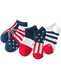 ( AngelKids ) ショート丈 靴下 キッズ 子供 国旗柄 模様 5足セット アメリカン フランス イギリス ヨーロッパ ボーダー …