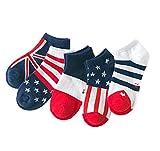 ( AngelKids ) ショート丈 靴下 キッズ 子供 国旗柄 模様 5足セット アメリカン フランス イギリス ヨーロッパ ボーダー (19-22㎝) …