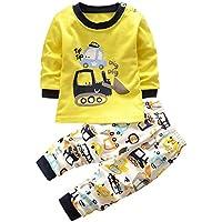 Domybest ベビー服 上下セット 男の子 長袖 Tシャツ ズボン 春 秋 黄色 幼児 キッズ 2点入り パジャマ 綿 可愛い 車柄 普段着 超柔らかい 伸縮性 カジュアル 出産祝い プレゼント