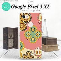 Google Pixel 3 XL(グーグル ピクセル 3 XL) スマホケース カバー ハードケース エスニック花柄 ピンク×ベージュ イニシャル対応 M nk-px3x-1582ini-m