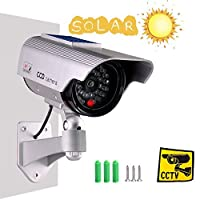 iseeuseeダミーソーラー監視フェイクカメラBullet with Flashing led-grey再充電バッテリーby Sun、ホームまたはビジネス、シルバー