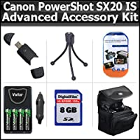 高度なアクセサリーキットfor Canon PowerShot sx20is sx20is 12.1MPデジタルカメラは8GB高速SDメモリカード+ USB 2.0高速カードリーダー+ 4AA高容量充電式ニッケル水素電池とAC / DC急速充電器+デラックスケース+ LCD画面P