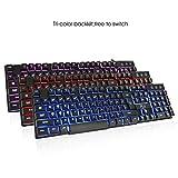 Riitek ゲーミングキーボード(Floating Keyboard)、浮動キー 掃除しやすい 3色バックライト付く フルサイズQWERTY 有線/USB接続ワイヤード バックライト調整ことができます RK100
