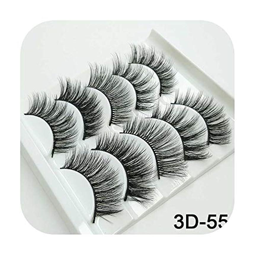 航空チップ条件付き3Dミンクまつげナチュラルつけまつげロングまつげエクステンション5ペアフェイクフェイクラッシュ,3D-55