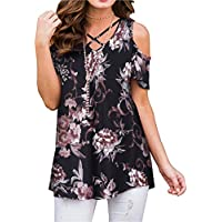 ZZER Women's Casual Floral Print Cold Shoulder Tunic Tops V-Neck Criss Cross T-Shirts Blouses