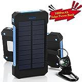 GRDE 10000mAh大容量ソーラーパネル モバイルバッテリー 二つの充電方法旅行 キャンプの必須の良品(ブラックとブルー)