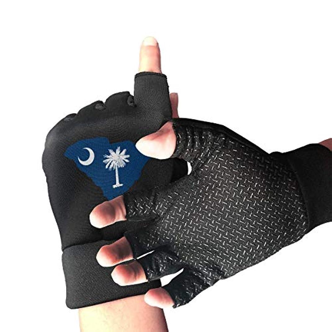 トレード騒乱雇うSouth Carolina State Flag Fingerless/Half Finger Gloves自転車用手袋/サイクリングマウンテン用手袋/滑り止め衝撃吸収通気性メンズ/レディース用手袋