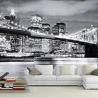 Xueshao 壁画壁紙黒と白の街の夜景橋リビングルームの寝室の装飾壁用不織布壁紙3D-280X200Cm