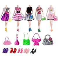 Barbie Doll Accessories=5pcs Handmade Wedding Dress+10 Pairs Shoes+10pcs Handbag Shoulderbag
