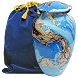 Ocean Tides Beautiful Adult Cremation Urn for Human Ashes - Find Comfort with This Large Urns Beautiful Deep Blue and Brown E