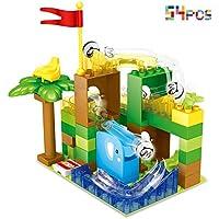 CHTOY スロープトイ 積み木 ジャングル大冒険 おもちゃ ルーピング コースター ブロック 立体パズル 知育玩具 子ども 子供用 クリスマス 誕生日 プレゼント (54PCS)