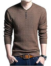 [ワン アンブ] しっかり カットソー ロング スリーブ カジュアル ボタン セーター 無地 シンプル M ~ XL メンズ