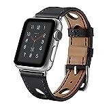 エルメス 時計 Apple watch band アップルの時計バンドの38 mmの42 mmの本物の革の交換バンドアップルウォッチシリーズの3シリーズ2シリーズ1ナイキエルメスの版のための古典的な金属アダプタの留め金単ツアーで (42mm, Black-Hollow)