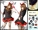 小悪魔 コスプレ ドレス+カチューシャ+ステッキ+タトゥーシール 4点セット デザインが超カワイイ伸縮性あり素材 セクシー ハロウィン 魔女 コスチューム レディース フリーサイズ