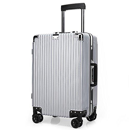 クロース(Kroeus) スーツケース TSAロック搭載 4輪ダブルキャスター 静音 大容量 フレームタイプ 軽量 人気 キャリーケース 旅行 出張 耐衝撃 取扱説明書付 S シルバー