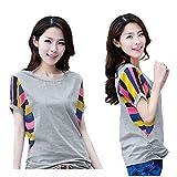 【MIKA&MAYA】 半袖 Tシャツ カットソー ボーダー レディース ウェア 大きいサイズ 女性 (2XL サイズ)