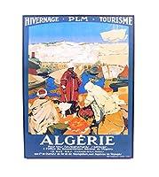 【アメリカ雑貨】ウッド看板 ALGERIE 33cm×25.5cm×2.5cm デザインボード プレート [並行輸入品]