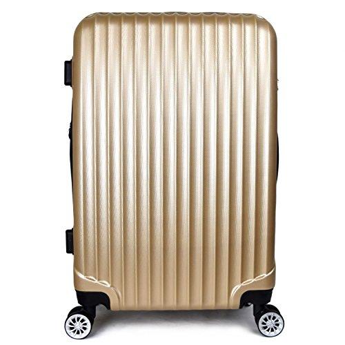 【神戸リベラル】LIBERAL 軽量スーツケース キャリーバッグ 容量アップ 8輪キャスター TSAロック付き (Mサイズ(3-5泊用 55/65L), ゴールド)