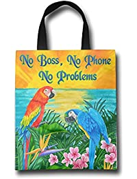 WACRDG Shopping Handle Bags,No Boss No Phone No Problems Personalized Tote Bag