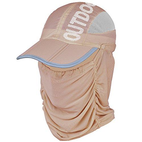 EIGER HORN(アイガーホーン) 帽子 フェイスカバー レディース 日よけ 帽子 UVカット 紫外線防止 ゴルフ アウトドア (ブラウン)