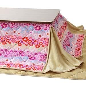 エムール マイクロファイバー こたつ布団セット(掛け布団 敷き布団) 正方形 小花・ベージュ