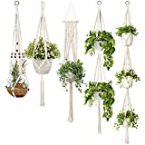 TOOGOO 5-Pack Macrame Plant Hangers, Different Tiers, Handmade Cotton Rope Hanging Planters Set Flower Pots Holder Stand, for