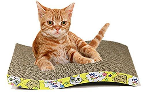IZUMIYA ネコ の 爪 とぎ ガリガリ 爪 磨き 兼 猫 ベッド 裏表 使用 可 猫ちゃん 鈴付き 首輪を セットで (S型)