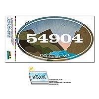 54904 オシュコシュ, WI - 川岩 - 楕円形郵便番号ステッカー
