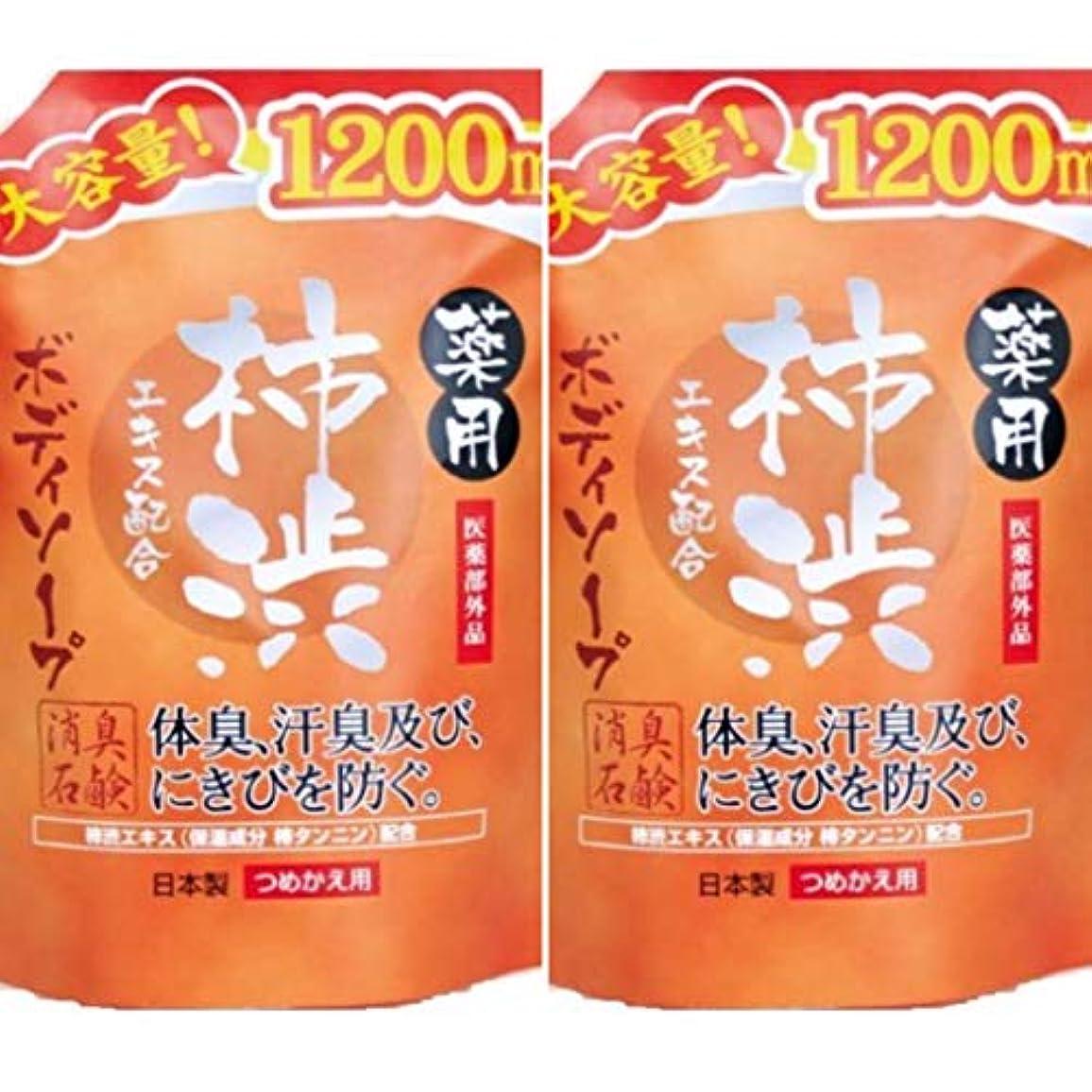 ライン散文物理的に薬用柿渋 ボディソープ大容量 1200mL ×2セット