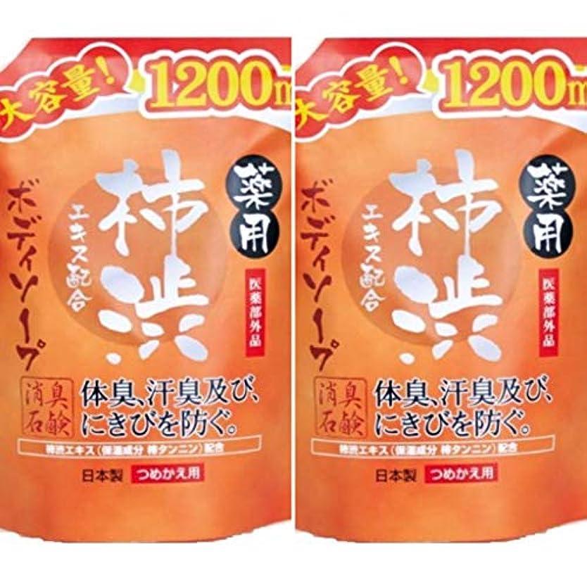 強要影響するスライス薬用柿渋 ボディソープ大容量 1200mL ×2セット