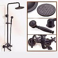 黒シャワーレースセット全銅冷熱の蛇口美式家庭用浴室掛け壁式シャワー,c