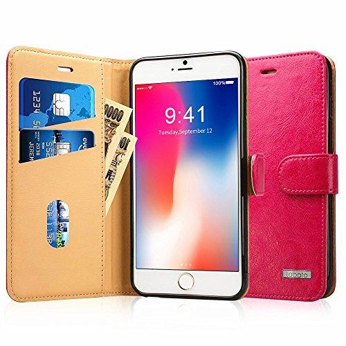 Labato iPhone8 Plus ケース 手帳型 アイフォン8プラスケース 本革レザー TPU スタンド カードホルダー 財布型 スタンド機能 手作り ハンドメイド 耐衝撃 耐汚れ マグネット 全面保護 フリップ 人気 (lbt-I8L-02Z33, ピンク)